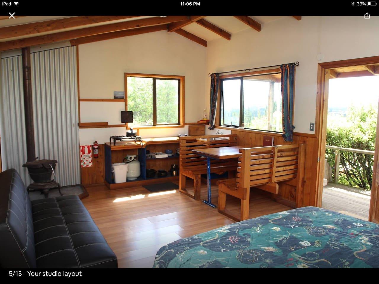 Inside Freestone Cabin on the hill