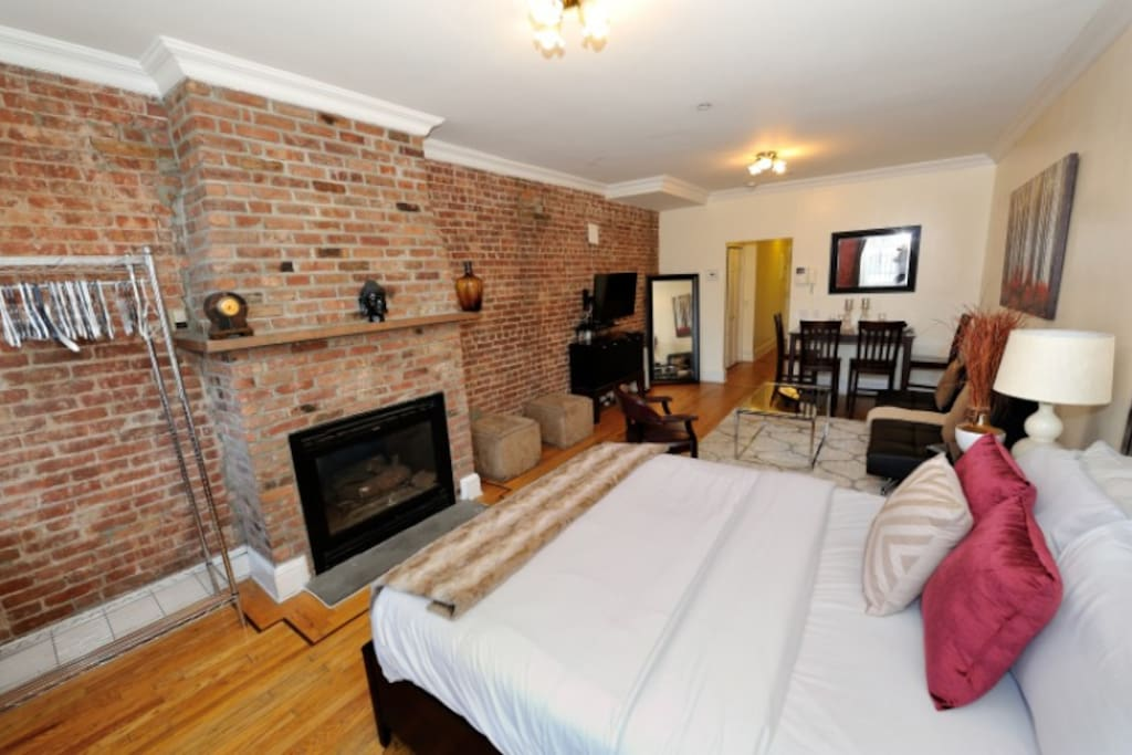 Exposed brick throughout