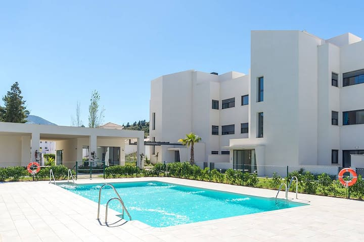 A modern, comfortable apartment with swimming pool