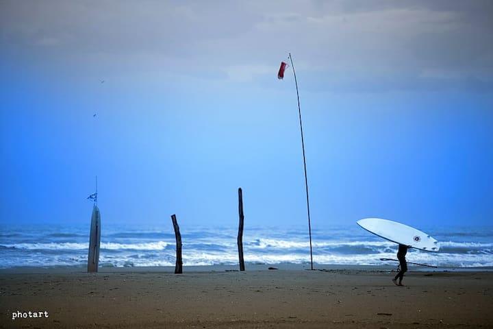 spiaggia surfisti