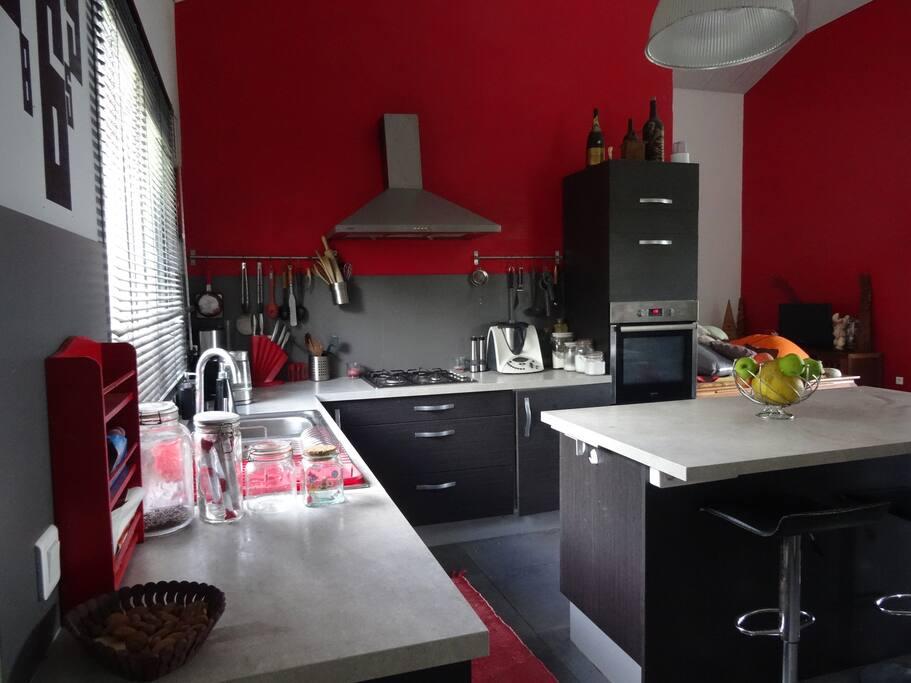 Cuisine toute équipée (four électrique,micro-onde, lave vaisselle...)