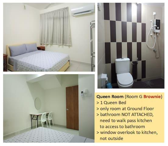 Room G @ Ground Floor : 1 Queen, bathroom not attached