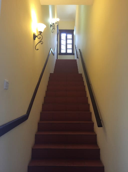 Secure internal staircase leading to the entrance of the apartment on the first floor.