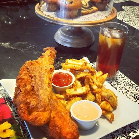 Fried cod and chips.