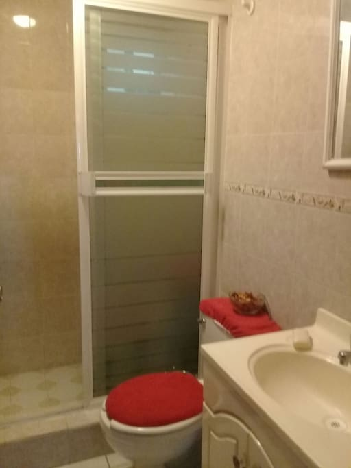 baño privado y limpio con jabon, toalla, shampoo .