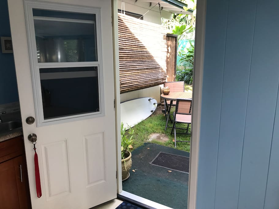 New door for privacy and quiet entry to outdoor eating area