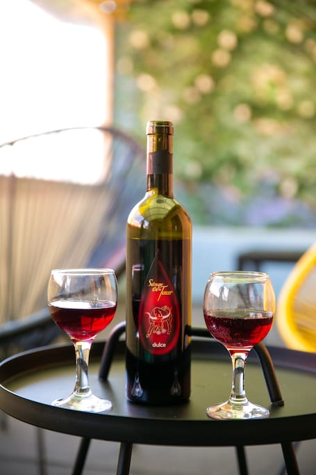 You can enjoy your wine on your garden terrace