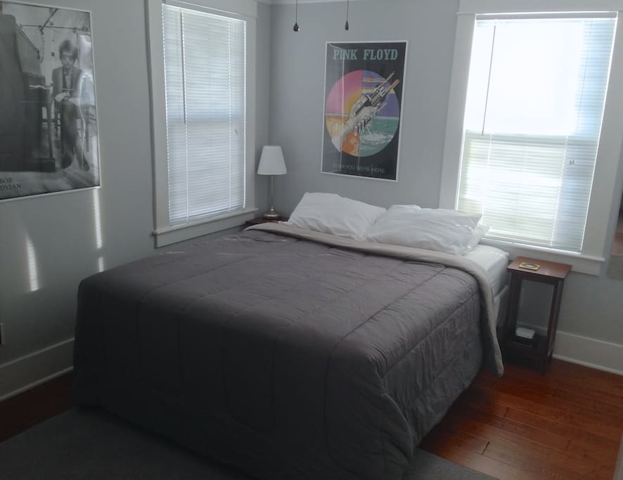 Guest room has queen size bed, great natural light