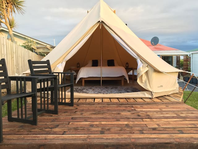 Glamping on the Beach luxury tent.