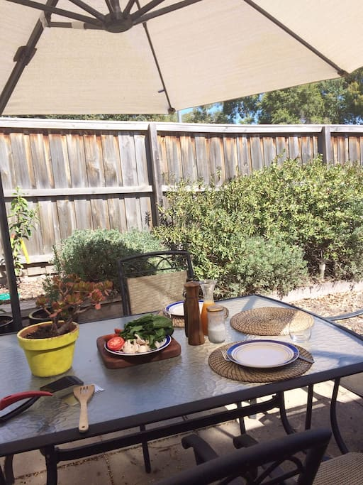 Enjoy a meal in the private backyard