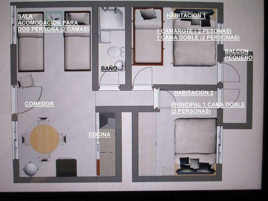Pequeño, cómodo y sencillo con 52 metros cuadrados aprox.