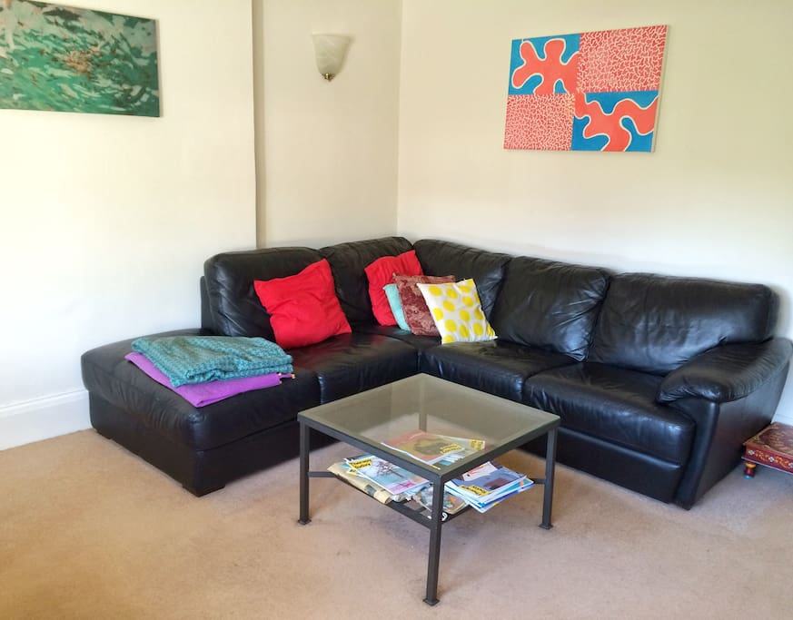 Very Spacious living room with comfortable sofa. If you want to invite a guest, they can easily  sleep on the sofa.