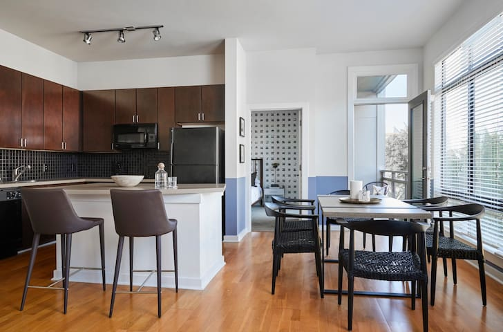 Domio | Uptown Charlotte | Colorful Two Bedroom | Pool + Balcony + Parking