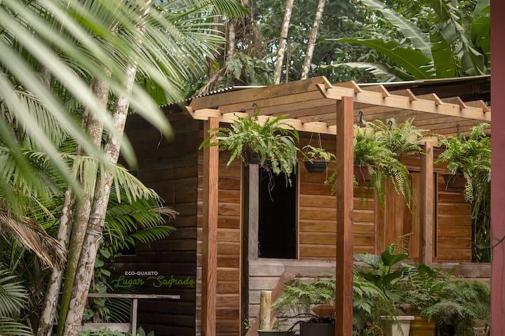 Eco-quarto tranquilidade entre elegantes palmeiras