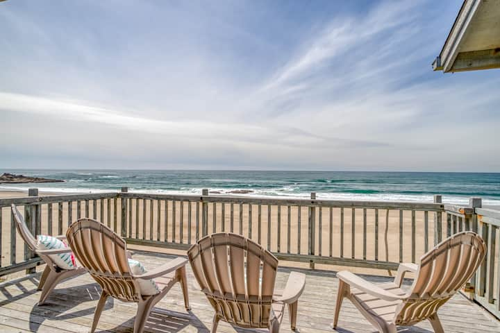 Spacious Oceanfront Elegance with Private Beach Access!