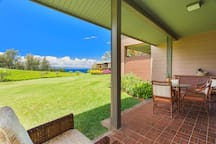 The large, private lanai offers peace and quiet with fabulous views