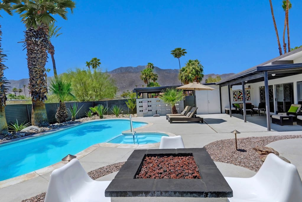Expansive backyard, surrounded by mature palms and desert landscaping.