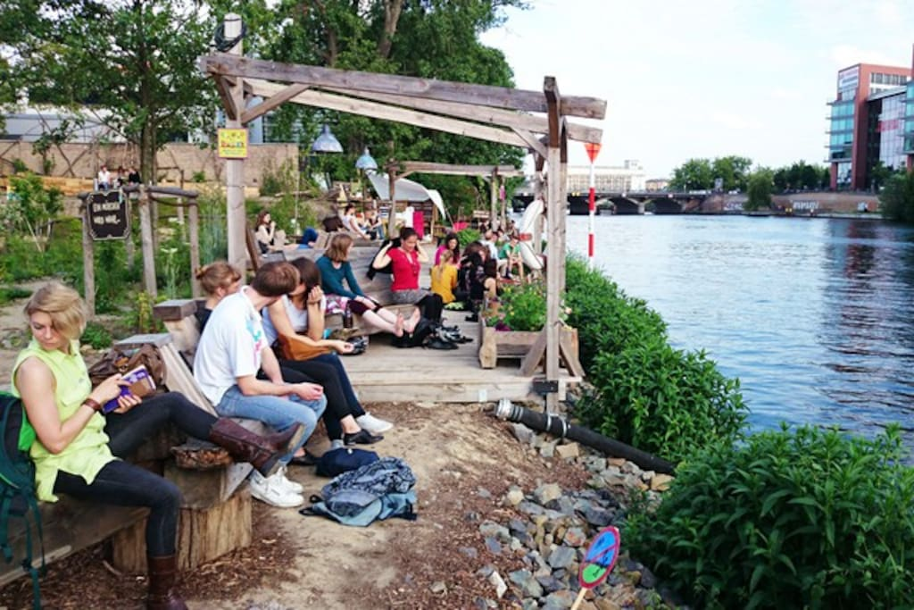 "Check out the many nice alternative riverside bars along the nearby river. Here you see ""Holzmarkt"" project."