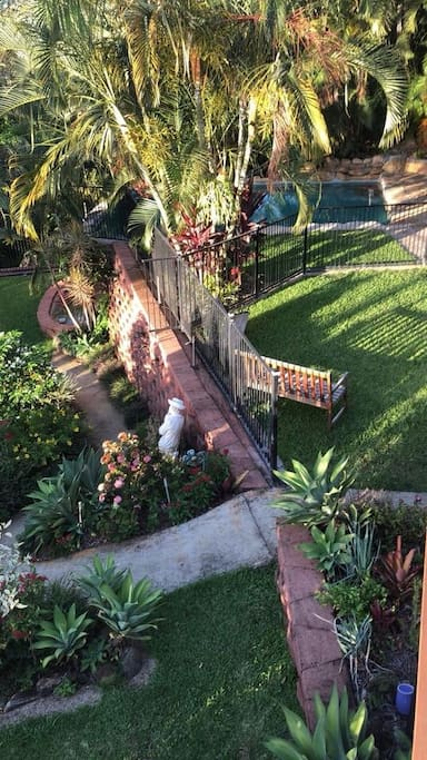 Full view of private backyard