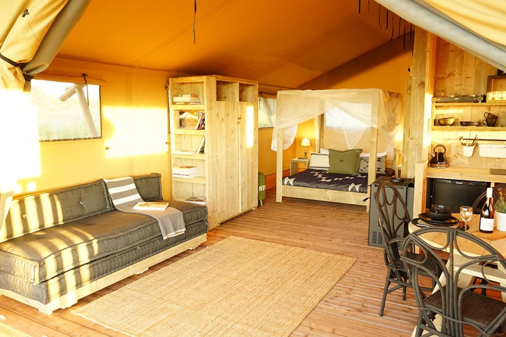 Relax and unwind in your own private Glamping space complete with custom built kitchen and bathroom