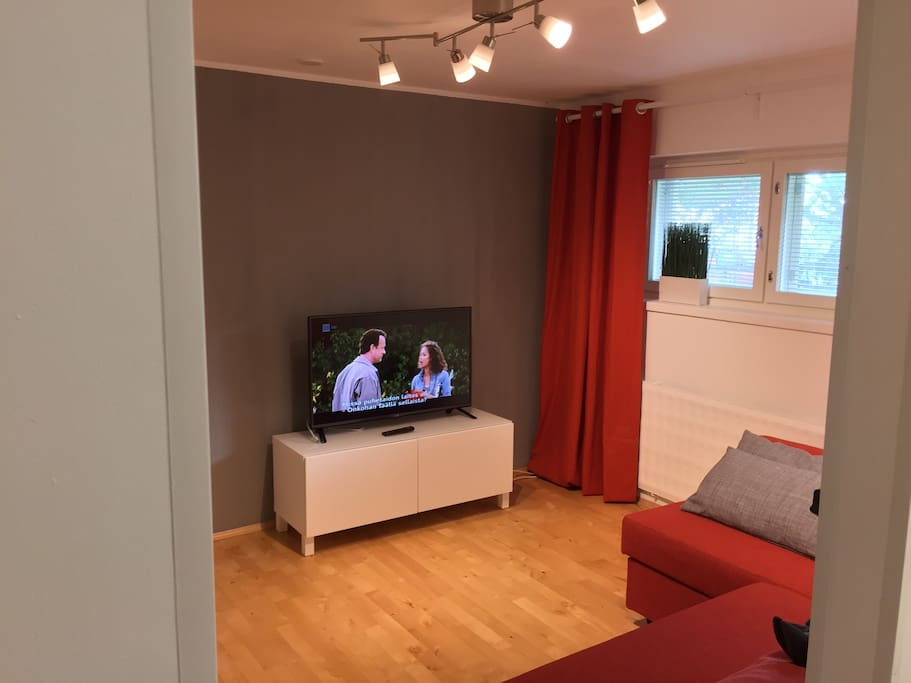 Living room area with proper LCD TV.
