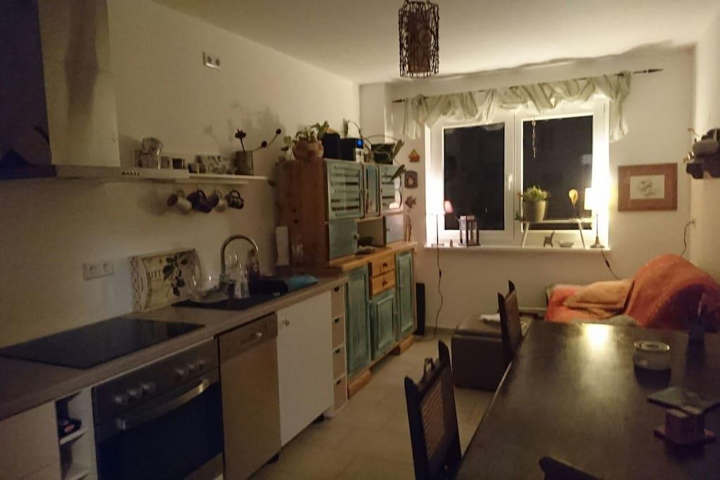 Das ist die gemütliche Wohnküche