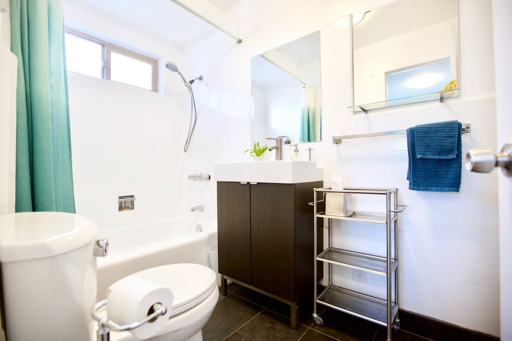 Light and bright full bath. Perfect for two people with double mirrors and added counter space with the stainless steel bar cart.