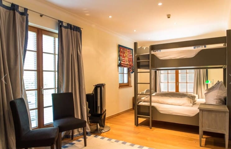 Guest room # 1 with double bunk bed, king size, can sleep 4 adults (180 x 200 cm)