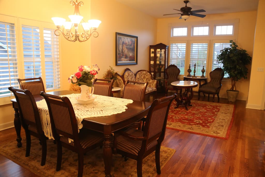 Open concept living room and formal dining room