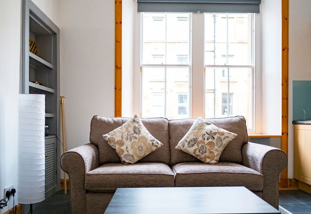 Comfortable 3 seater sofa – perfect spot to relax after a day in Edinburgh