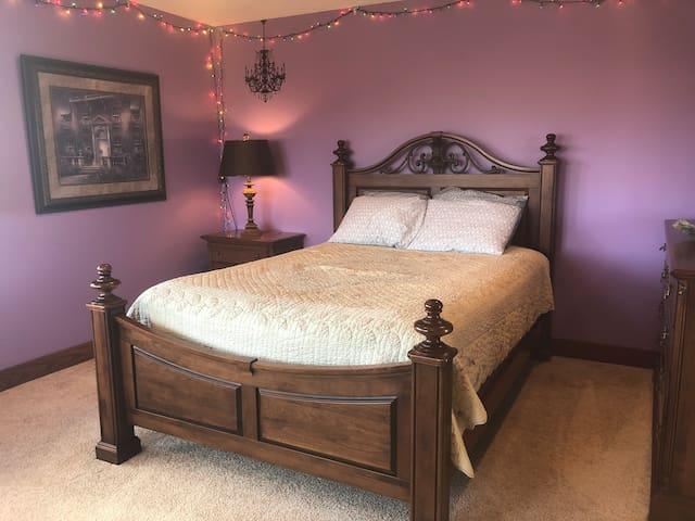 Bedroom on the second floor added November 2019.  Queen bed & walk in closet adjoins the bathroom.