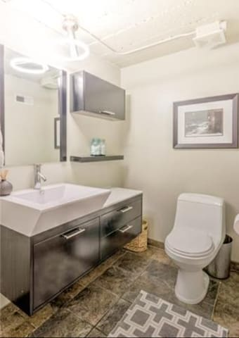 Complimentary toiletries and attached washer and dryer