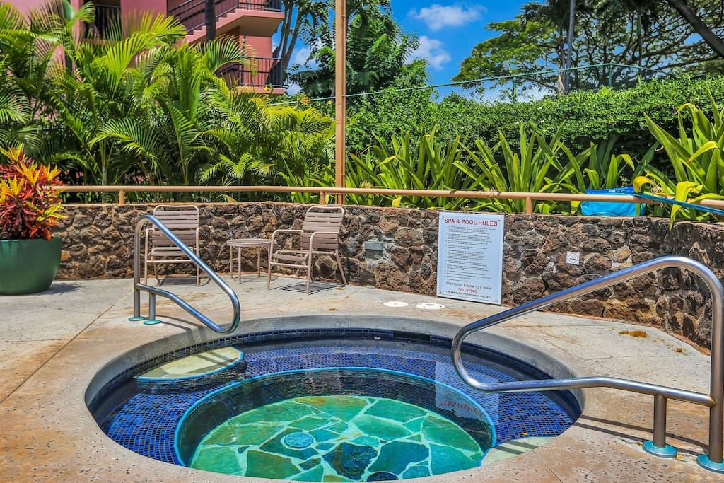 The soothing hot tub may be on the small side, but is often a necessity in relaxation.
