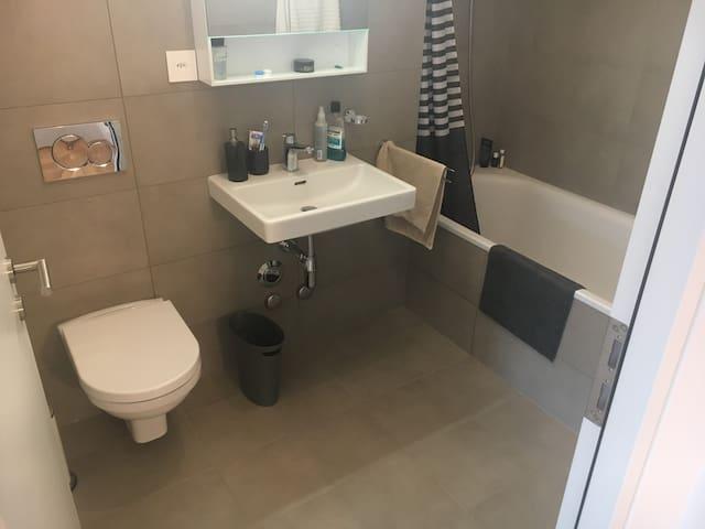 Modern bathroom with full size bath