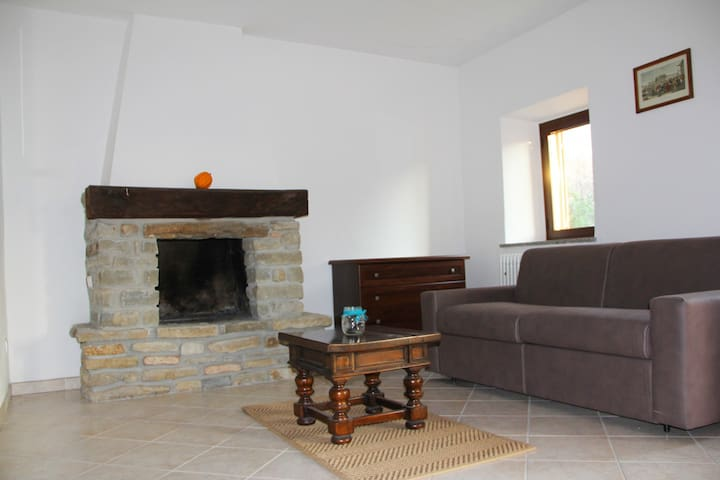 lower flat_fire place in reading room with double sleeping sofa