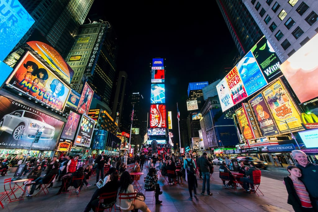 Times Square and Broadway are less than 10 minutes walking