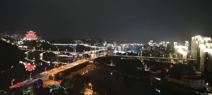 三明沙县望江~高层夜景观赏~风景秀丽山景房