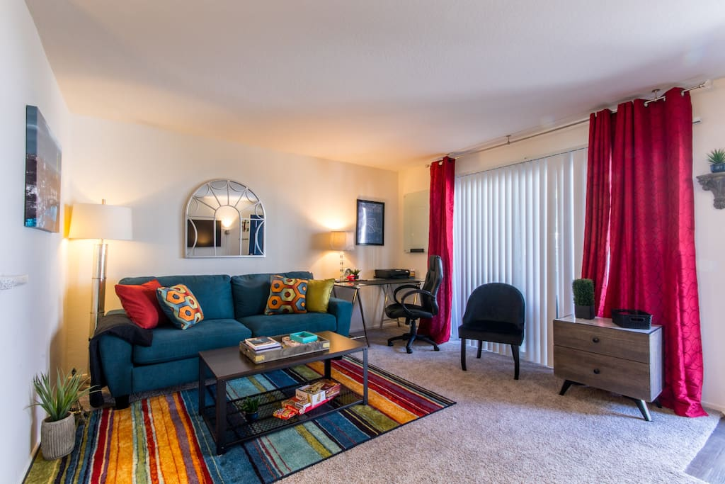 Bold colors and large area to let in sunshine and air.