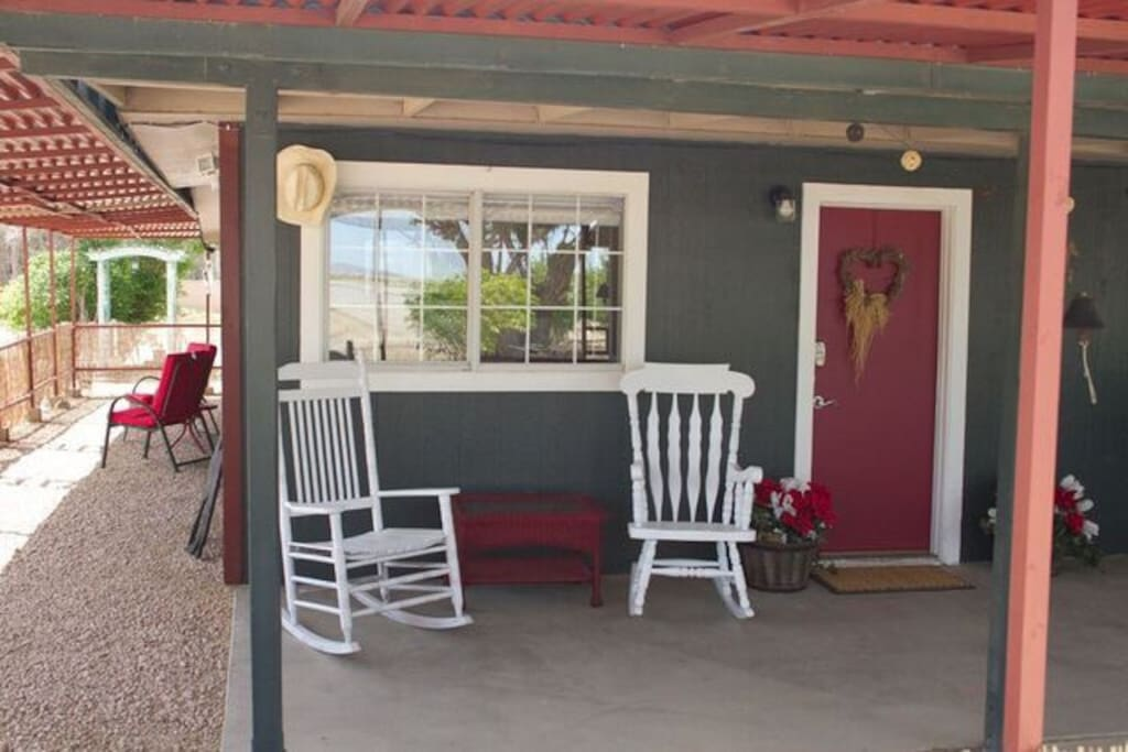 Relax in our rocking chairs with a cup of coffee in the morning or a glass of ice tea in the afternoon.
