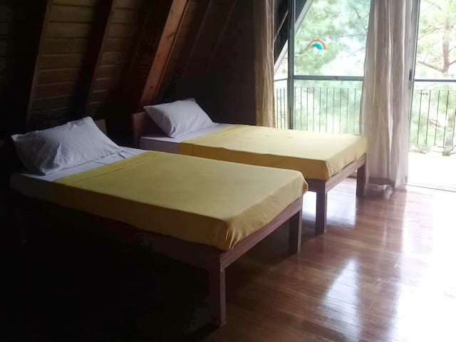 Yellow room: 2 single beds + optional pull-out bed.
