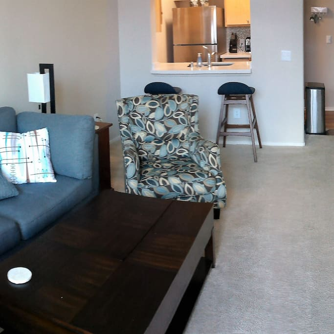 New furniture and cozy living space