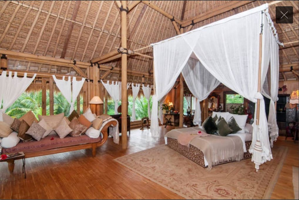Master Bed room suite decorated in Bali's earthy