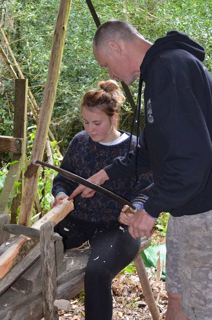 Using the drawknife