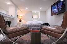 The rec room offers bonus space to spread out, work, watch a movie or crash on an additional king size bed.