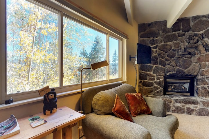 Waterfront condo w/reservoir view, shared hot tub - walk to dining