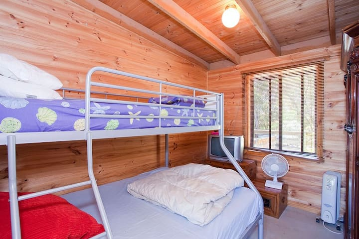 2nd bedroom with queen bed and single bunk up top