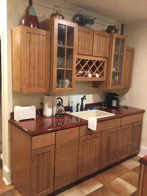 Kitchenette with toaster and Keurig