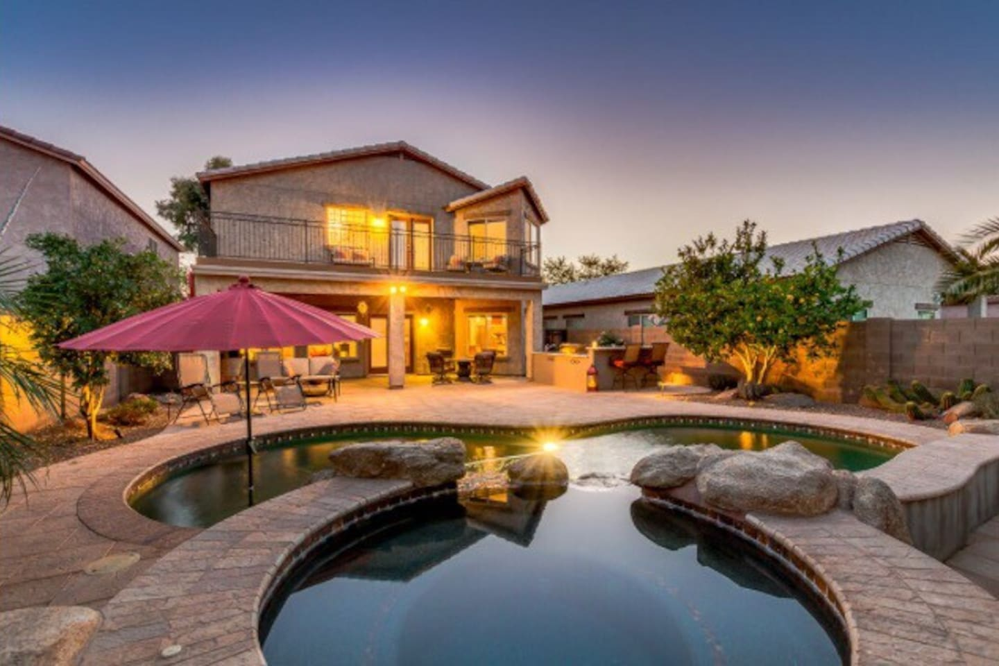 Come to Casa Bliss and soak the world away while you watch the sunset from the back yard.