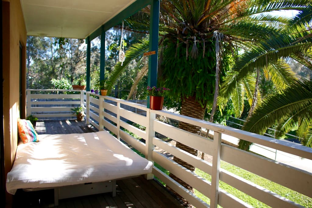 Front veranda | Bike track to footbridge | Sunlit daybed
