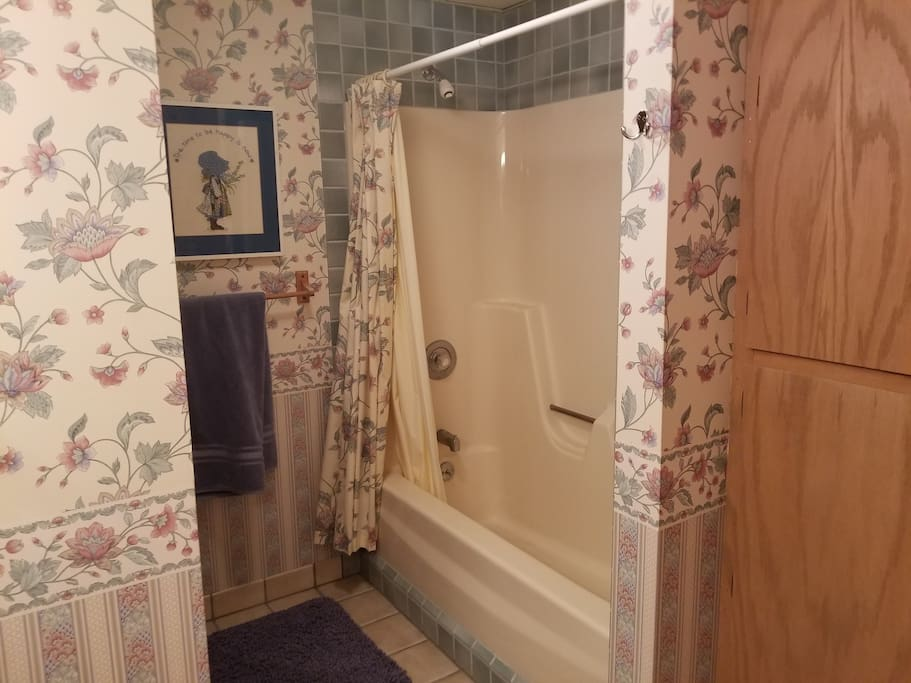 Bathroom with shower, tub, double vanity.
